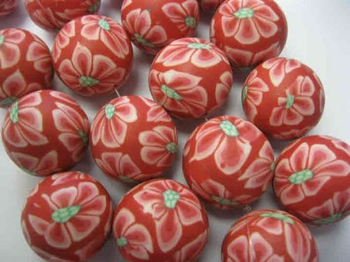Handmade Polymer Clay Round Red Beads (26mm) (pack of 5)
